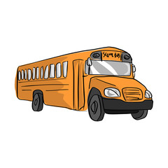 yellow school bus vector illustration sketch hand drawn with black lines isolated on white background