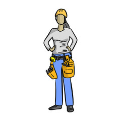 female mechanic or plumber handyman vector illustration sketch hand drawn with black lines isolated on white background