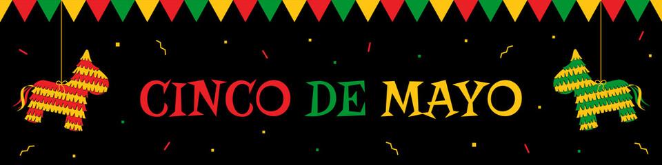Celebration cinco de mayo web banner. Horizontal vector design template with big title cinco de mayo, green and orange traditional pinatas, bunting. Festive colors illustration for party promo design