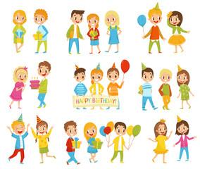 Happy Birthday kids set, little boys and girls celebrating birthday vector Illustrations on a white background