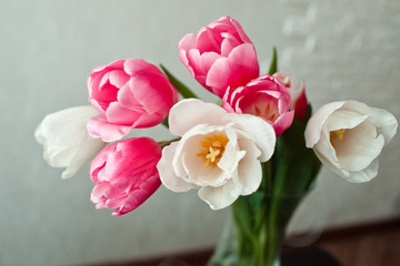 a bouquet of tulips in a vase