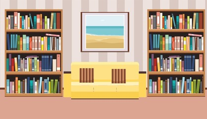 Interior with a poster, sofa with pillows and bookshelf. Flat vector illustration