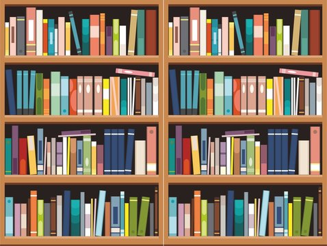 Bookshelve with books  background,  Library education