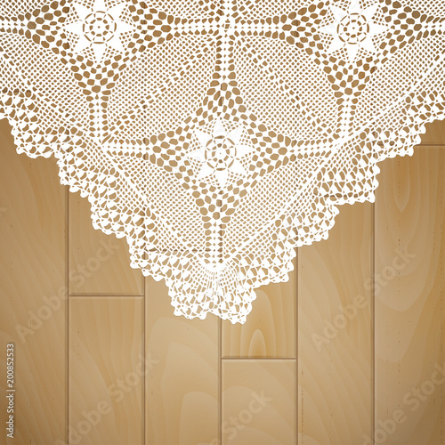 Rustic Lace On Wooden Background