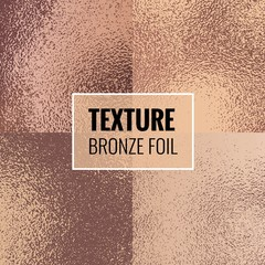 Set of shiny bronze foil textures. Copper  background template for invitations, posters, cards.Vector illustration