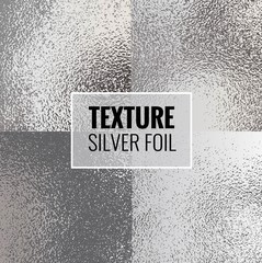 Set of shiny silver foil textures. Silver  background template for invitations, posters, cards.Vector illustration