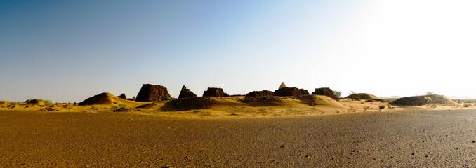 Panorama of Meroe pyramids in the desert at sunrise, Sudan,