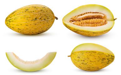 Set melon whole, three quarters, cut in half, slice