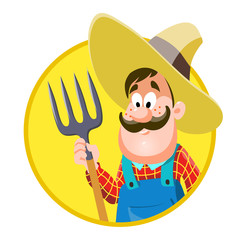 Cartoon farmer. vector illustration, isolated on white background