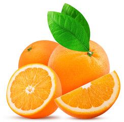 Two orange fruit one cut in half and slice with leaf
