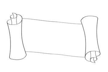 Horizontal paper scroll. Outline drawing
