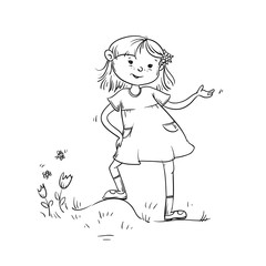 Vector sketch girl teenager worth important and says. Child in dress on meadow with grass, flowers and butterflies. Active walk in summer on outdoor black white cartoon isolated illustration.