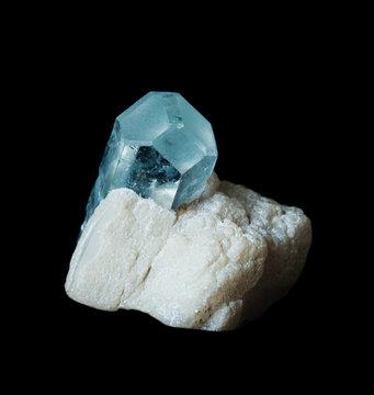 Gemstone aquamarine  isolated on black
