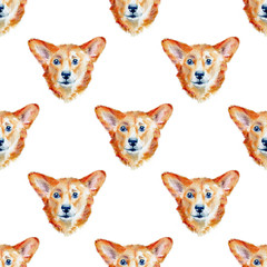Hand drawn watercolor pattern isolated on white background. Seamless pattern with watercolor corgi puppies for background, wallpaper, textile, wrapping paper.