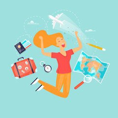 Vacation, travel, adventure, satisfied people. Flat design vector illustration.