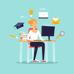 Online education, a girl is sitting at a computer, a student, courses. Flat design vector illustration.
