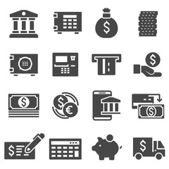 Vector gray bank icons set