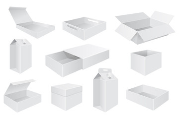 White boxes. Set of different paper boxes, open and closed