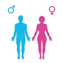 standing silhouettes of man and woman, female and male signs isolated on white background