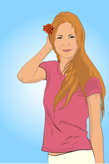 beautiful tender young girl in a summer T-shirt and shorts with a flower in her hair on a blue background flat drawing