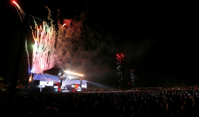 Fireworks explode at the conclusion of Eminem's performance at the Coachella Valley Music and Arts Festival in Indio