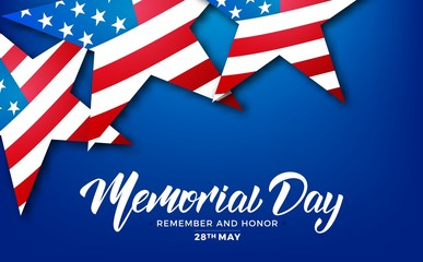 Memorial Day. USA Memorial Day card with lettering and stars of USA flag