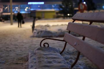 bench Winter Night
