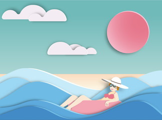 girl floating on  beautiful beach background  paper cut style .candy color vector style.