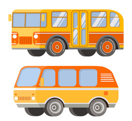 City passenger public transport. Retro vintage bus and tourist van. The vehicle for trips and travel. In flat a vector. An icon for the website.