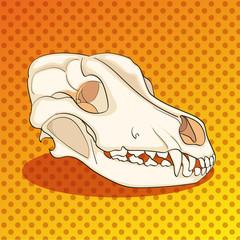 Pop art skull dog sideways. Color background. Comic book style imitation raster