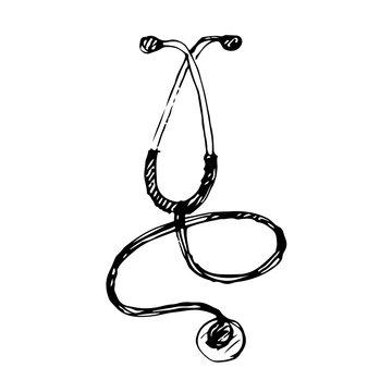 Hand drawn stethoscope. Vector illustration. Sketch.