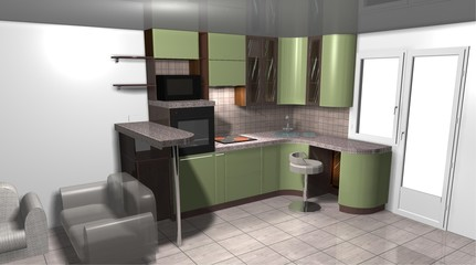 kitchen 3D rendering interior design green