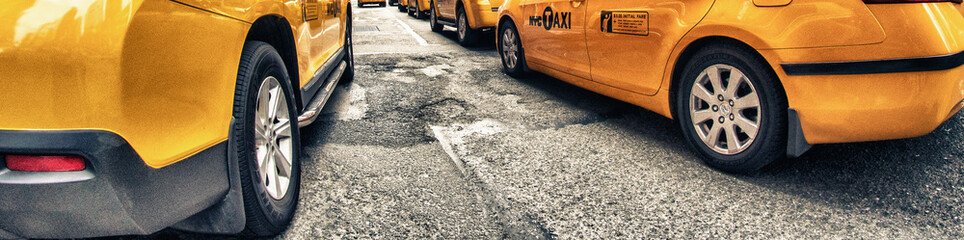 Yellow Cabs in New York City Streets