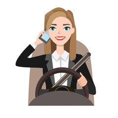 businesswoman driving a car talking on the phone