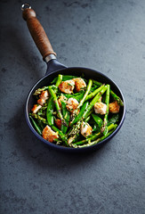 Sesame Chicken with Green asparagus and Sugar Snap Peas flavoured with lemon peel  (stir fry)