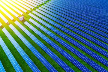 Solar energy farm. High angle view of solar panels on an energy farm