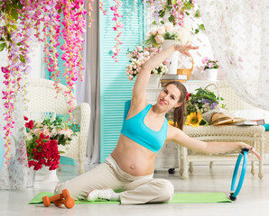 Pregnant woman during workout