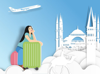 Travelling woman with suitcase on Turkey background ,  paper cut style .candy color vector style.