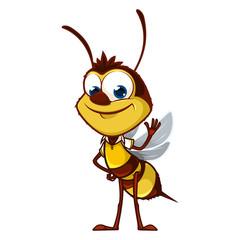 Cartoon bee says hi
