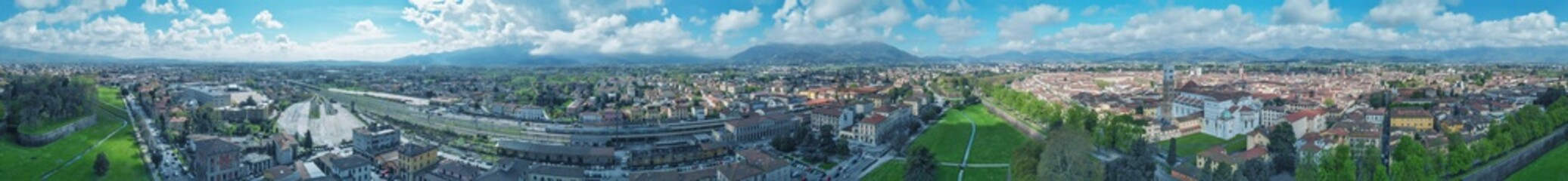 Lucca at sunset, Tuscany. Panoramic aerial view in Spring