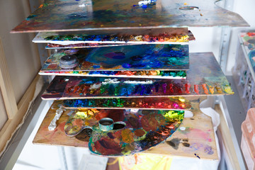 Colored paint on the art palette
