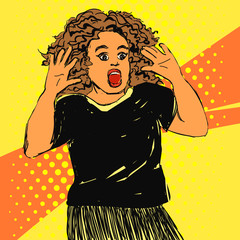 Scared screaming woman with opened mouth and hands up, curly hair. Vector hand drawn pop art illustration.
