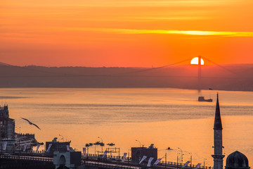 Sunrise over the Bosphorus, the view of the Suleymaniye Mosque, Istanbul