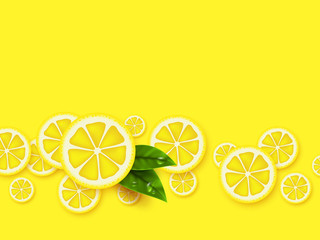 Lemon yellow background. Sliced lemons pieces with leaves and water drop. Vector illustration.