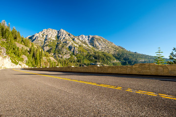 Highway at Lake Tahoe in California