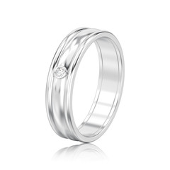 3D illustration isolated silver matching couples wedding ring with reflection