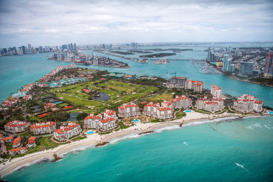 Fisher Island aerial view, Miami