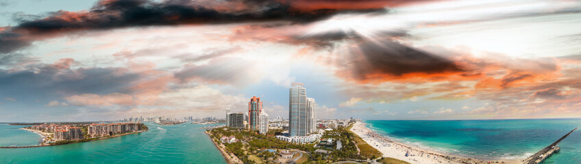 Aerial view of Miami skyline from South Pointe Park, Florida