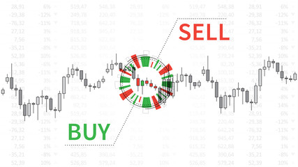 Stock market chart with graphic elements vector illustration. Financial forex trade candlestick graph with words buy and sell creative concept. Buy or sell signals graphic design.