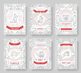 Animal vector brochure cards thin line set. Cute home pets template of flyear, magazines, posters, book cover, banners. Layout domestic wildlife  outline illustrations modern pages